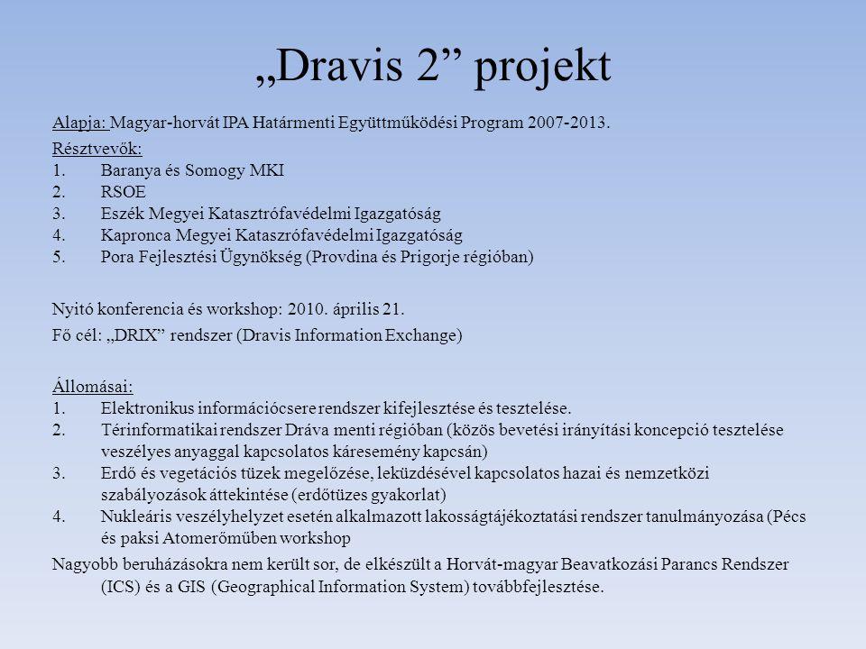 """""""Dravis 2"""" projekt Alapja: Magyar-horvát IPA Határmenti Együttműködési Program 2007-2013. Résztvevők: 1.Baranya és Somogy MKI 2.RSOE 3.Eszék Megyei Ka"""