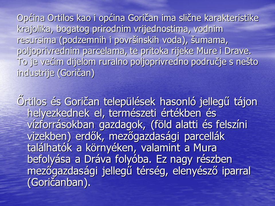 Općina Ortilos kao i općina Goričan ima slične karakteristike krajolika, bogatog prirodnim vrijednostima, vodnim resursima (podzemnih i površinskih voda), šumama, poljoprivrednim parcelama, te pritoka rijeke Mure i Drave.