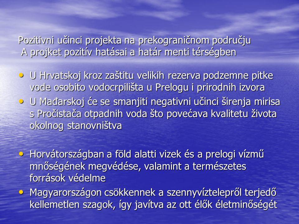 Pozitivni učinci projekta na prekograničnom području A projket pozitív hatásai a határ menti térségben U Hrvatskoj kroz zaštitu velikih rezerva podzemne pitke vode osobito vodocrpilišta u Prelogu i prirodnih izvora U Hrvatskoj kroz zaštitu velikih rezerva podzemne pitke vode osobito vodocrpilišta u Prelogu i prirodnih izvora U Mađarskoj će se smanjiti negativni učinci širenja mirisa s Pročistača otpadnih voda što povećava kvalitetu života okolnog stanovništva U Mađarskoj će se smanjiti negativni učinci širenja mirisa s Pročistača otpadnih voda što povećava kvalitetu života okolnog stanovništva Horvátországban a föld alatti vizek és a prelogi vízmű mnőségének megvédése, valamint a természetes források védelme Horvátországban a föld alatti vizek és a prelogi vízmű mnőségének megvédése, valamint a természetes források védelme Magyarországon csökkennek a szennyvíztelepről terjedő kellemetlen szagok, így javítva az ott élők életminőségét Magyarországon csökkennek a szennyvíztelepről terjedő kellemetlen szagok, így javítva az ott élők életminőségét