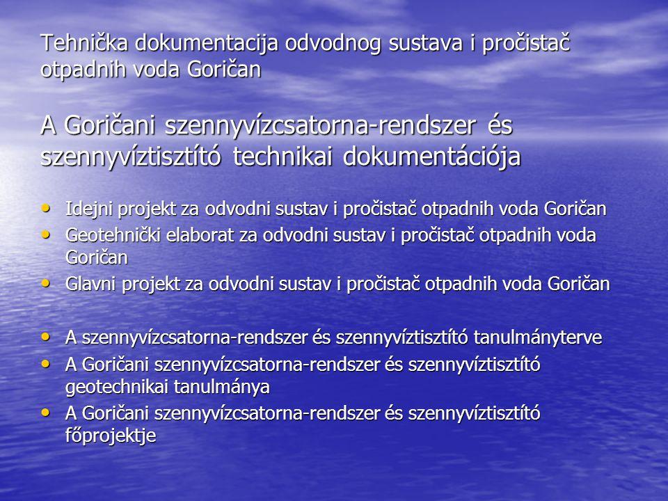 Tehnička dokumentacija odvodnog sustava i pročistač otpadnih voda Goričan A Goričani szennyvízcsatorna-rendszer és szennyvíztisztító technikai dokumentációja Idejni projekt za odvodni sustav i pročistač otpadnih voda Goričan Idejni projekt za odvodni sustav i pročistač otpadnih voda Goričan Geotehnički elaborat za odvodni sustav i pročistač otpadnih voda Goričan Geotehnički elaborat za odvodni sustav i pročistač otpadnih voda Goričan Glavni projekt za odvodni sustav i pročistač otpadnih voda Goričan Glavni projekt za odvodni sustav i pročistač otpadnih voda Goričan A szennyvízcsatorna-rendszer és szennyvíztisztító tanulmányterve A szennyvízcsatorna-rendszer és szennyvíztisztító tanulmányterve A Goričani szennyvízcsatorna-rendszer és szennyvíztisztító geotechnikai tanulmánya A Goričani szennyvízcsatorna-rendszer és szennyvíztisztító geotechnikai tanulmánya A Goričani szennyvízcsatorna-rendszer és szennyvíztisztító főprojektje A Goričani szennyvízcsatorna-rendszer és szennyvíztisztító főprojektje
