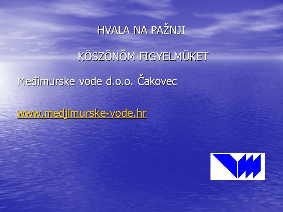 HVALA NA PAŽNJI KÖSZÖNÖM FIGYELMÜKET Međimurske vode d.o.o. Čakovec www.medjimurske-vode.hr
