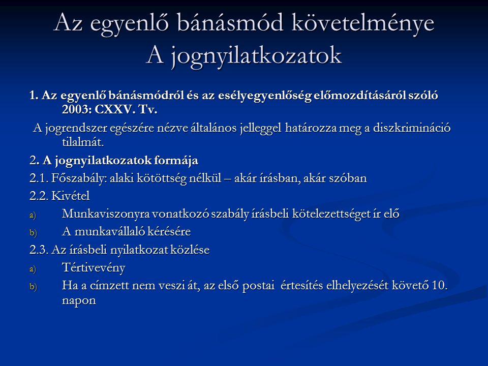 Az egyenlő bánásmód követelménye A jognyilatkozatok 1. Az egyenlő bánásmódról és az esélyegyenlőség előmozdításáról szóló 2003: CXXV. Tv. A jogrendsze