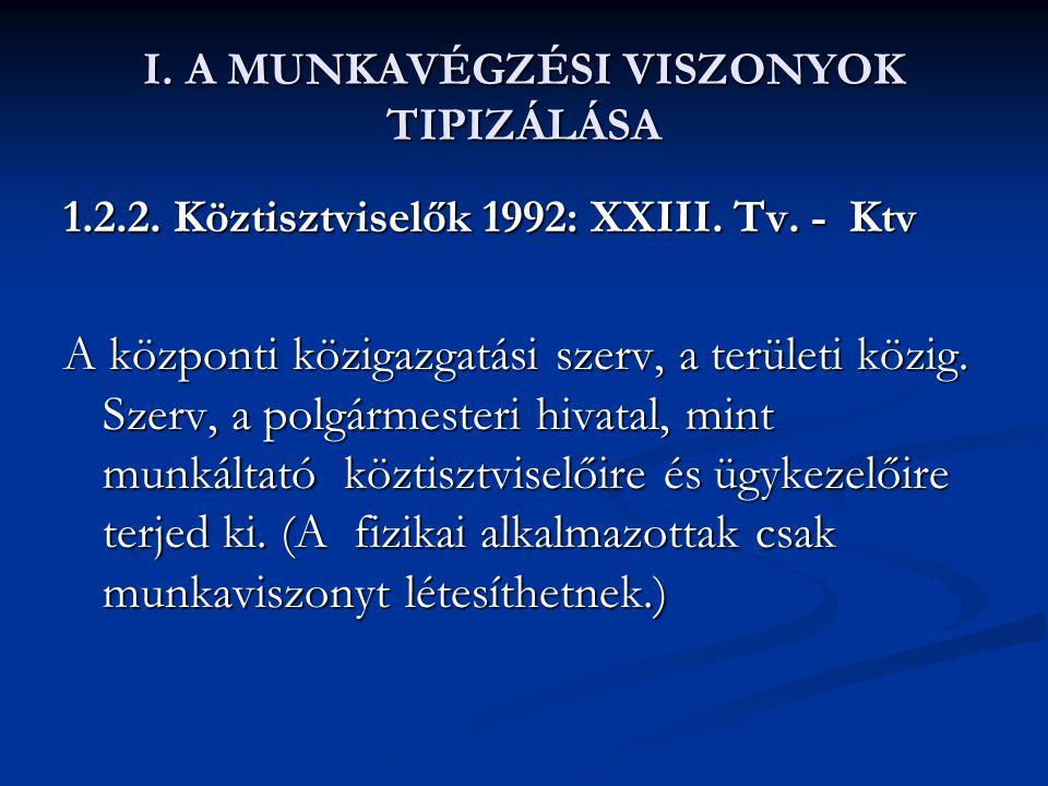 I. A MUNKAVÉGZÉSI VISZONYOK TIPIZÁLÁSA 1.2.2. Köztisztviselők 1992: XXIII. Tv. - Ktv A központi közigazgatási szerv, a területi közig. Szerv, a polgár