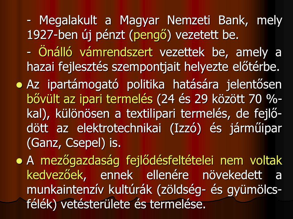 - Megalakult a Magyar Nemzeti Bank, mely 1927-ben új pénzt (pengő) vezetett be. - Önálló vámrendszert vezettek be, amely a hazai fejlesztés szempontja