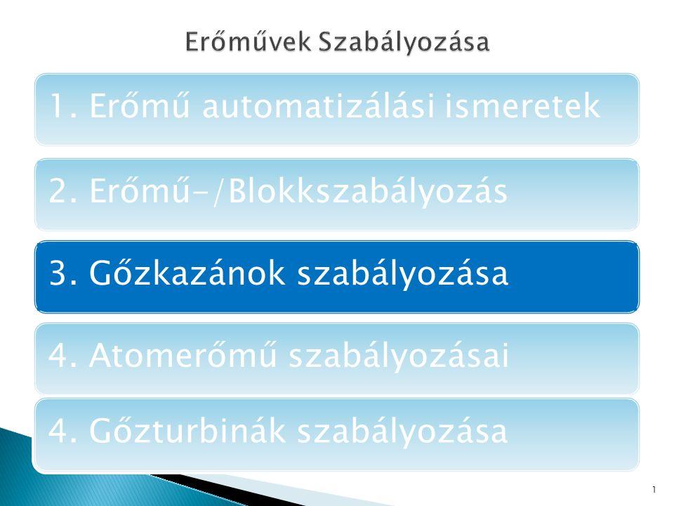 1. Erőmű automatizálási ismeretek2. Erőmű-/Blokkszabályozás3.