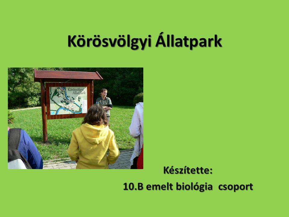 Körösvölgyi Állatpark Készítette: 10.B emelt biológia csoport