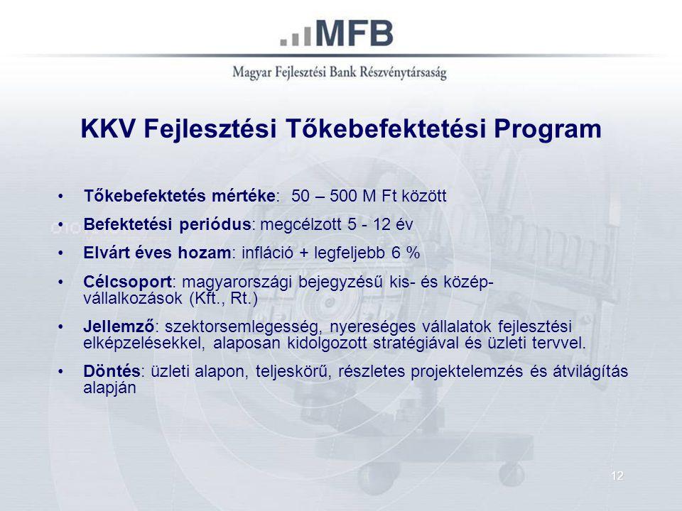 KKV Fejlesztési Tőkebefektetési Program Tőkebefektetés mértéke: 50 – 500 M Ft között Befektetési periódus: megcélzott 5 - 12 év Elvárt éves hozam: inf