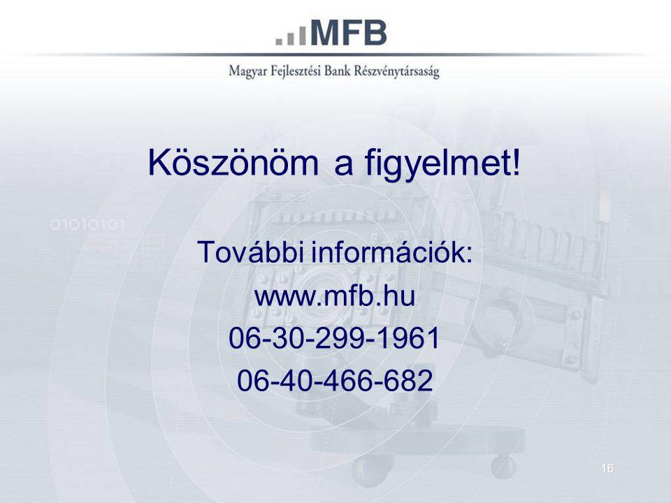 Köszönöm a figyelmet! További információk: www.mfb.hu 06-30-299-1961 06-40-466-682 16