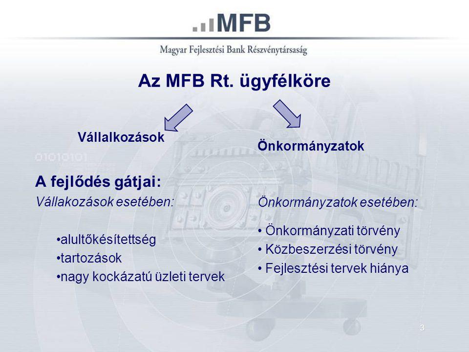Az MFB Rt. ügyfélköre Vállalkozások A fejlődés gátjai: Vállakozások esetében: alultőkésítettség tartozások nagy kockázatú üzleti tervek Önkormányzatok