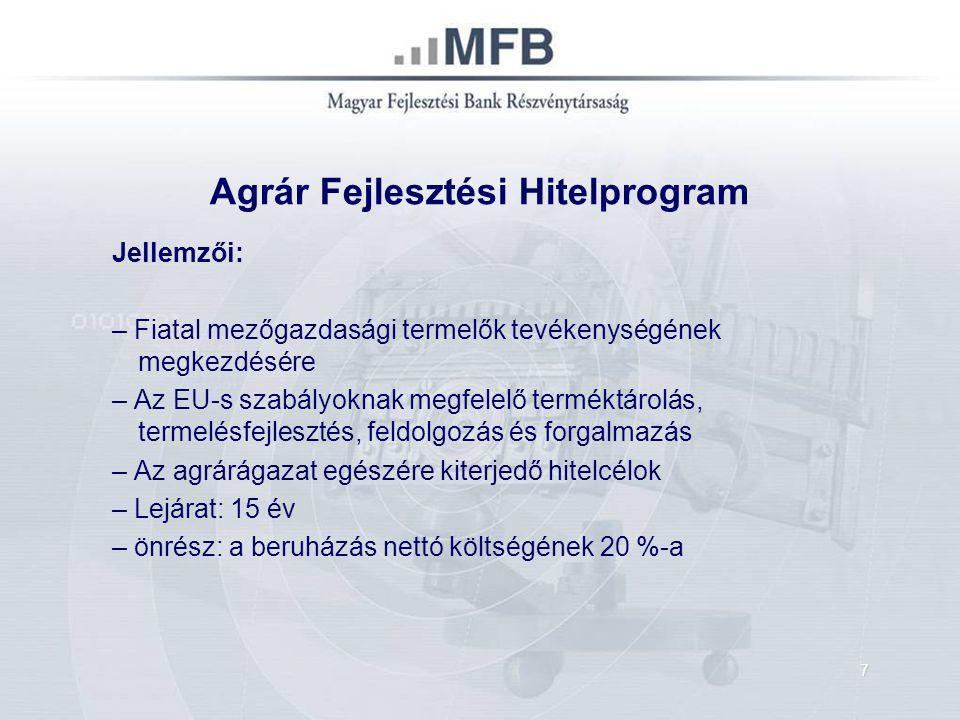Agrár Fejlesztési Hitelprogram Agrár Beruházási Hitel: 5-400 M Ft, Integrátorok esetében: 750 M Ft EURIBOR + max.