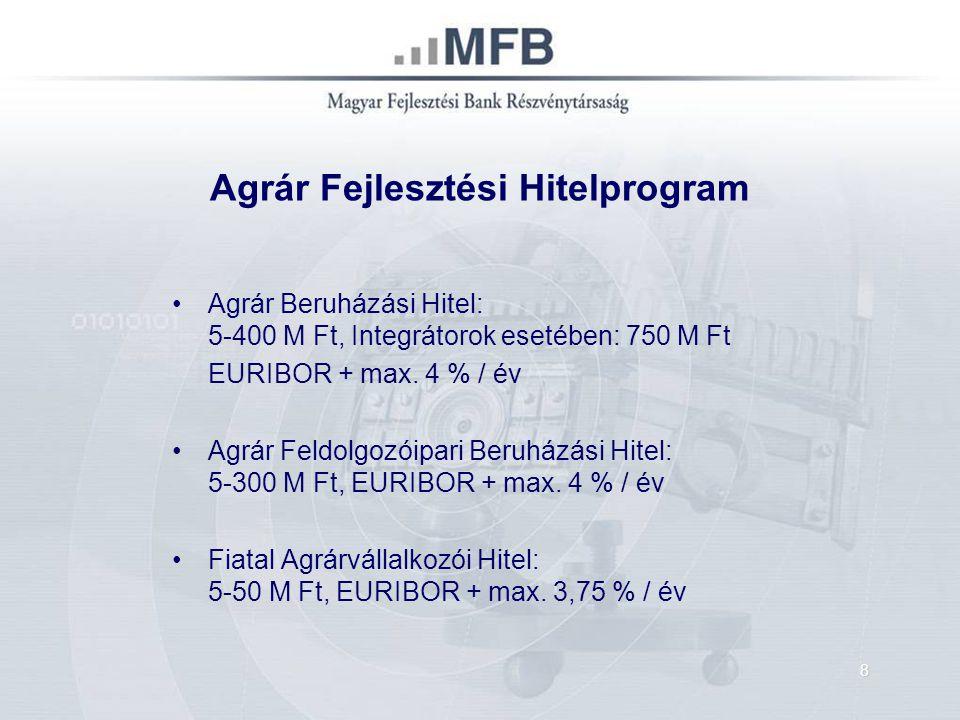 Agrár Fejlesztési Hitelprogram Agrár Beruházási Hitel: 5-400 M Ft, Integrátorok esetében: 750 M Ft EURIBOR + max. 4 % / év Agrár Feldolgozóipari Beruh