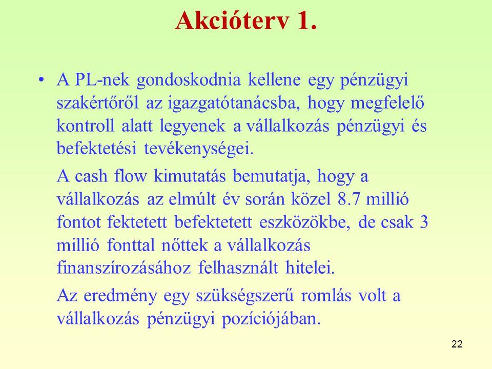Akcióterv 1. A PL-nek gondoskodnia kellene egy pénzügyi szakértőről az igazgatótanácsba, hogy megfelelő kontroll alatt legyenek a vállalkozás pénzügyi