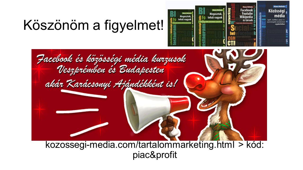 Köszönöm a figyelmet! kozossegi-media.com/tartalommarketing.html > kód: piac&profit
