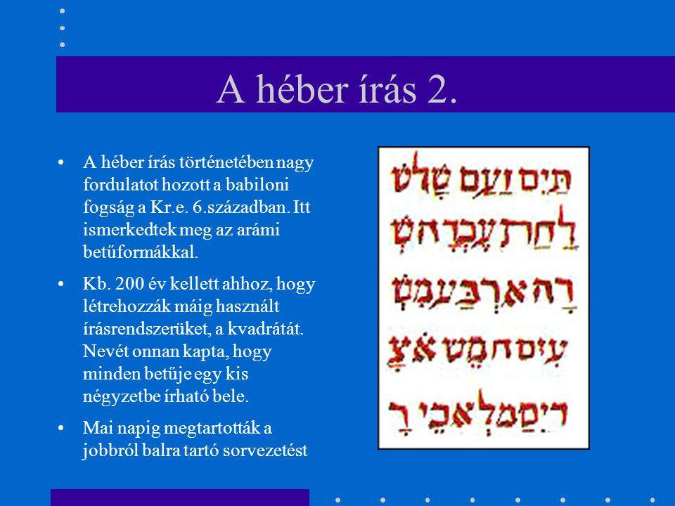 A héber írás 2. A héber írás történetében nagy fordulatot hozott a babiloni fogság a Kr.e. 6.században. Itt ismerkedtek meg az arámi betűformákkal. Kb