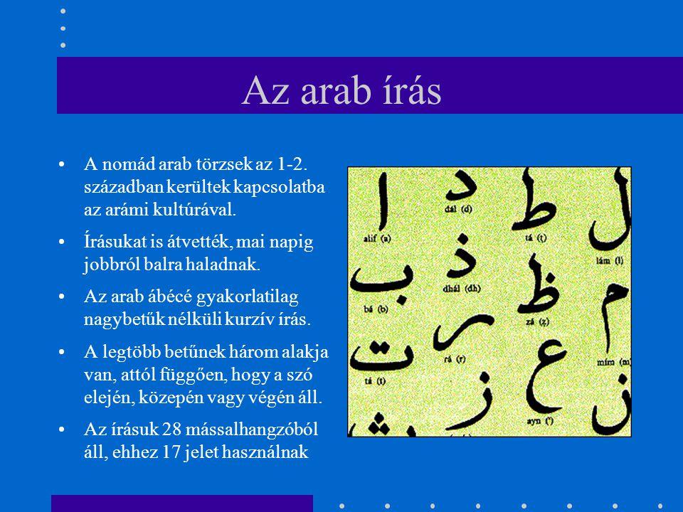 Az arab írás A nomád arab törzsek az 1-2. században kerültek kapcsolatba az arámi kultúrával. Írásukat is átvették, mai napig jobbról balra haladnak.