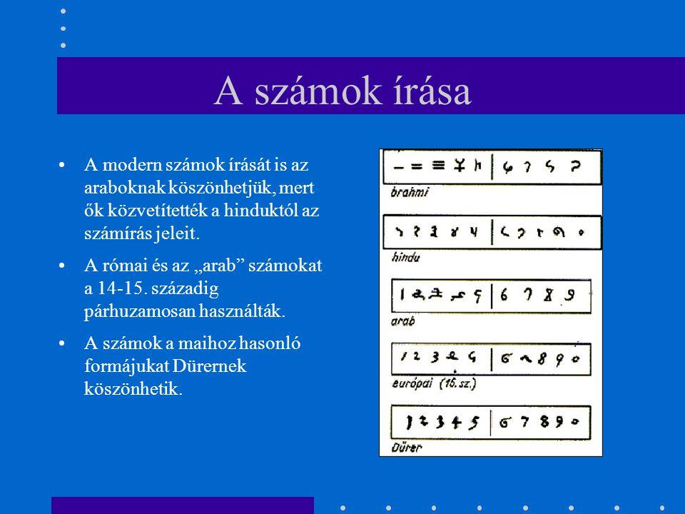 """A számok írása A modern számok írását is az araboknak köszönhetjük, mert ők közvetítették a hinduktól az számírás jeleit. A római és az """"arab"""" számoka"""