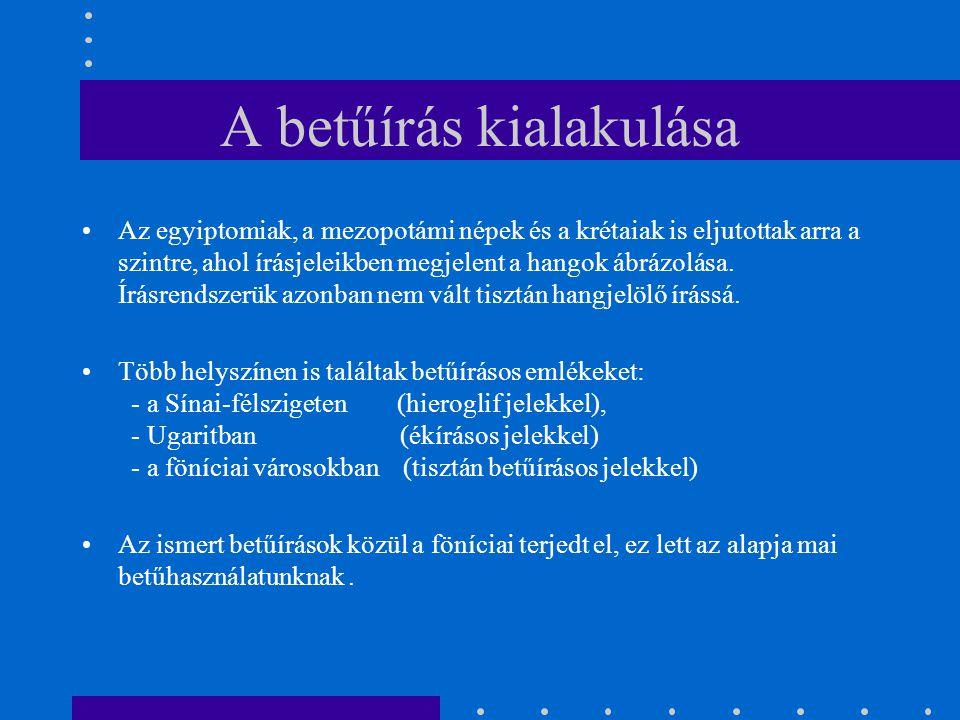 A betűírás kialakulása A föníciaiak városállamokban éltek (Tyros, Byblos, Sidon).