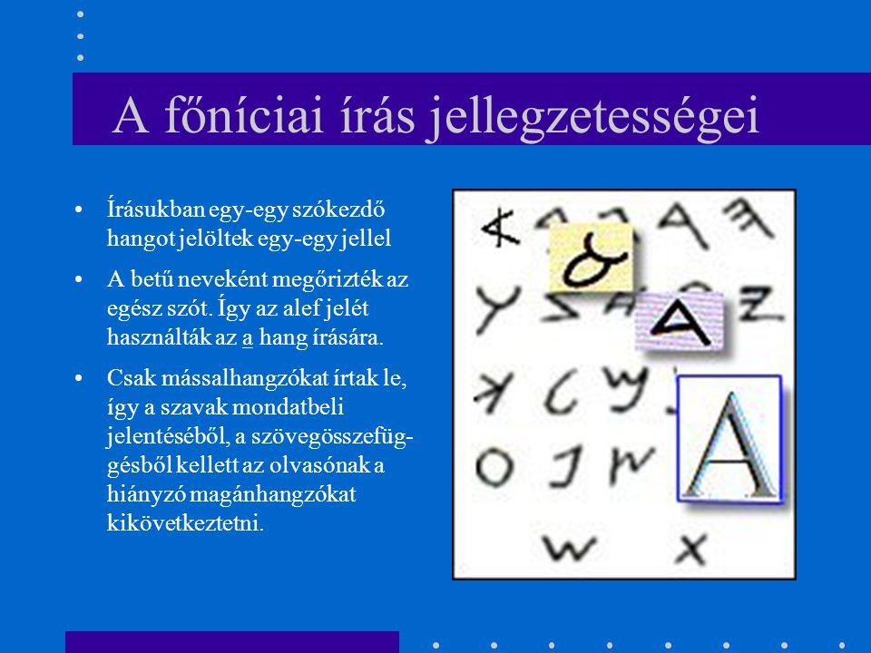 A főníciai írás jellegzetességei Írásukban egy-egy szókezdő hangot jelöltek egy-egy jellel A betű neveként megőrizték az egész szót. Így az alef jelét