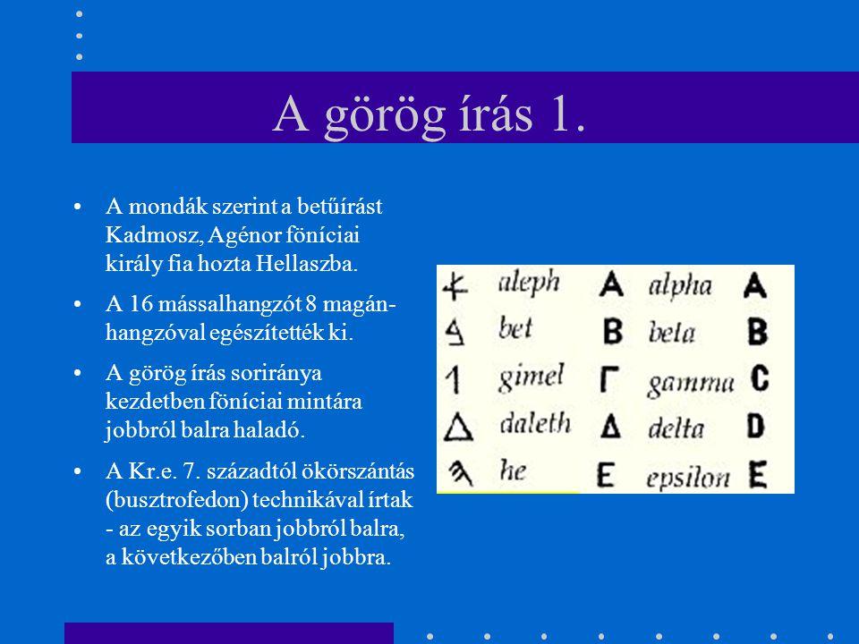 A mondák szerint a betűírást Kadmosz, Agénor föníciai király fia hozta Hellaszba. A 16 mássalhangzót 8 magán- hangzóval egészítették ki. A görög írás