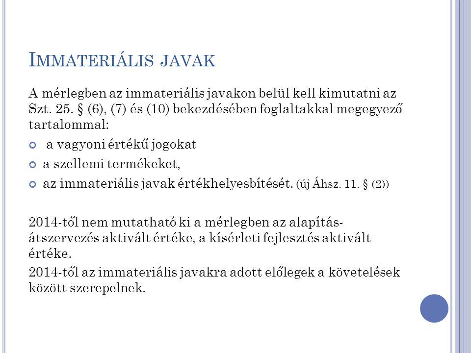 I MMATERIÁLIS JAVAK A mérlegben az immateriális javakon belül kell kimutatni az Szt. 25. § (6), (7) és (10) bekezdésében foglaltakkal megegyező tartal