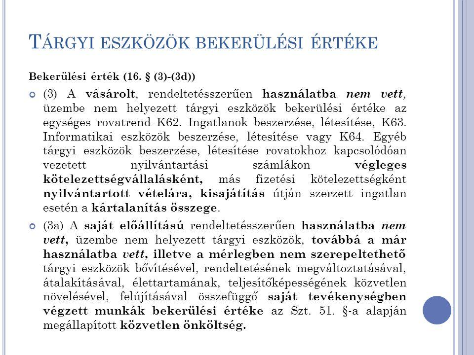 T ÁRGYI ESZKÖZÖK BEKERÜLÉSI ÉRTÉKE Bekerülési érték (16. § (3)-(3d)) (3) A vásárolt, rendeltetésszerűen használatba nem vett, üzembe nem helyezett tár