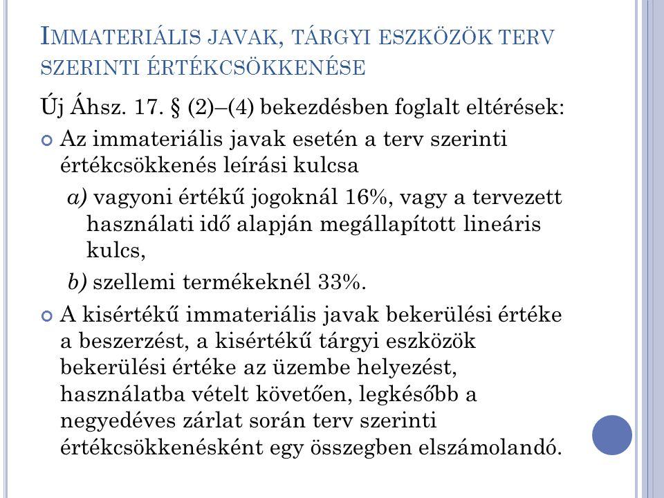I MMATERIÁLIS JAVAK, TÁRGYI ESZKÖZÖK TERV SZERINTI ÉRTÉKCSÖKKENÉSE Új Áhsz. 17. § (2)–(4) bekezdésben foglalt eltérések: Az immateriális javak esetén