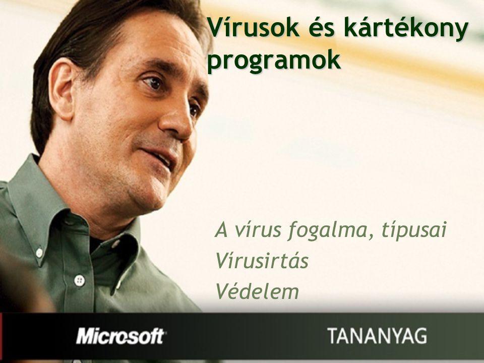 Vírusok és kártékony programok A vírus fogalma, típusai Vírusirtás Védelem