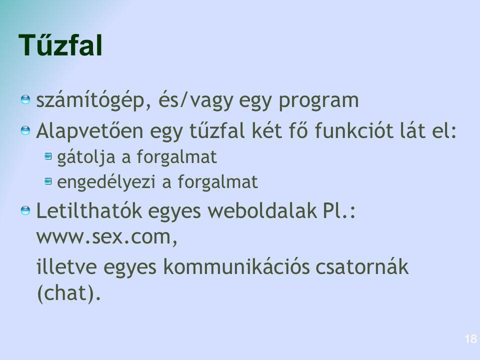 Tűzfal számítógép, és/vagy egy program Alapvetően egy tűzfal két fő funkciót lát el: gátolja a forgalmat engedélyezi a forgalmat Letilthatók egyes weboldalak Pl.: www.sex.com, illetve egyes kommunikációs csatornák (chat).