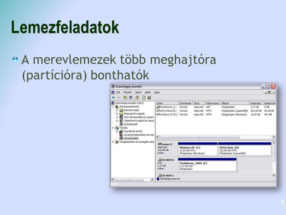 Fájlrendszerek FAT Régi, elavult 8.3-as fájlnév ( 8 karakter név.