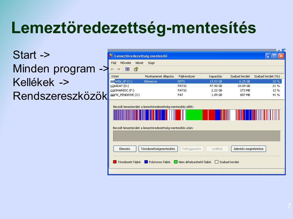 Lemeztöredezettség-mentesítés Start -> Minden program -> Kellékek -> Rendszereszközök 7
