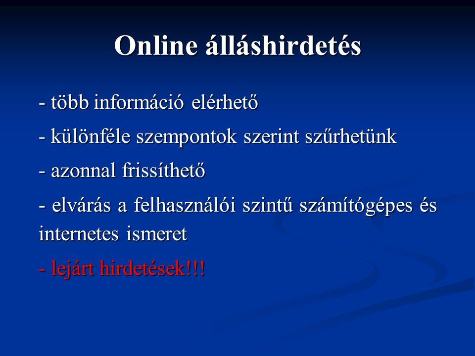 Online álláshirdetés - több információ elérhető - különféle szempontok szerint szűrhetünk - azonnal frissíthető - elvárás a felhasználói szintű számítógépes és internetes ismeret - lejárt hirdetések!!!
