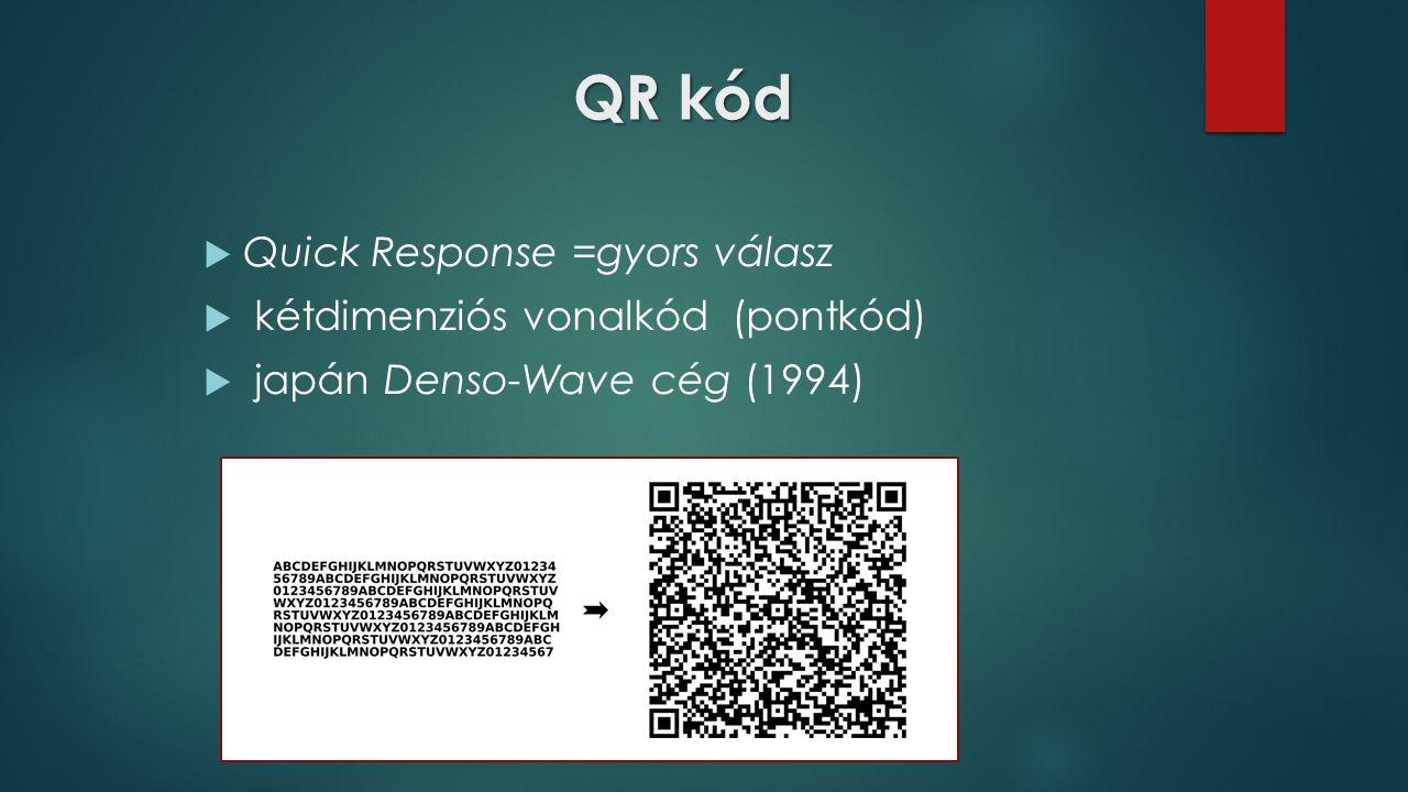 QR kód  Quick Response =gyors válasz  kétdimenziós vonalkód (pontkód)  japán Denso-Wave cég (1994)