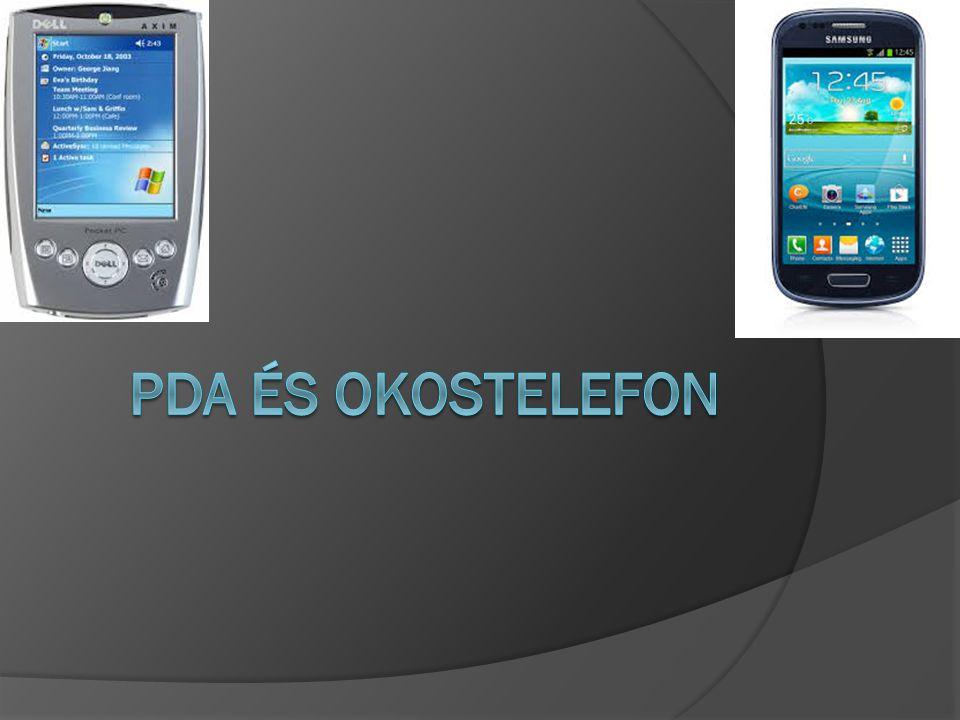 PDA  A PDA az angol personal digital assistant rövidítése, magyarul digitális személyi asszisztens, – másként kéziszámítógép vagy zsebszámítógép – egy kisméretű mobil eszköz, zsebben hordozható számítógép, főleg személyes információk tárolására és feldolgozására szolgál.