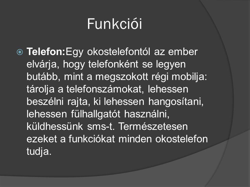 Funkciói  Telefon:Egy okostelefontól az ember elvárja, hogy telefonként se legyen butább, mint a megszokott régi mobilja: tárolja a telefonszámokat,