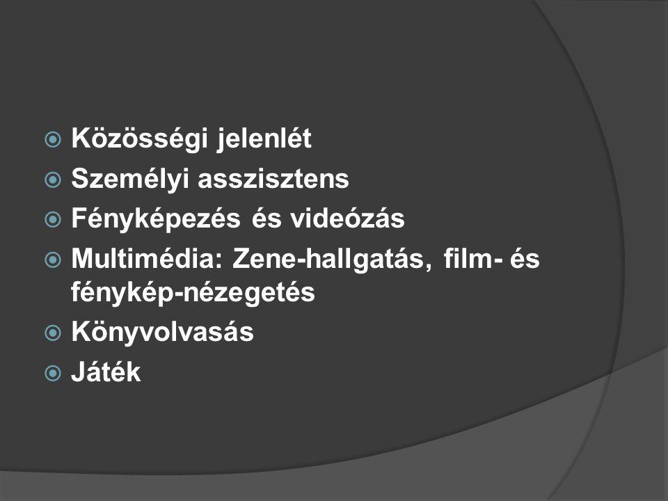  Közösségi jelenlét  Személyi asszisztens  Fényképezés és videózás  Multimédia: Zene-hallgatás, film- és fénykép-nézegetés  Könyvolvasás  Játék