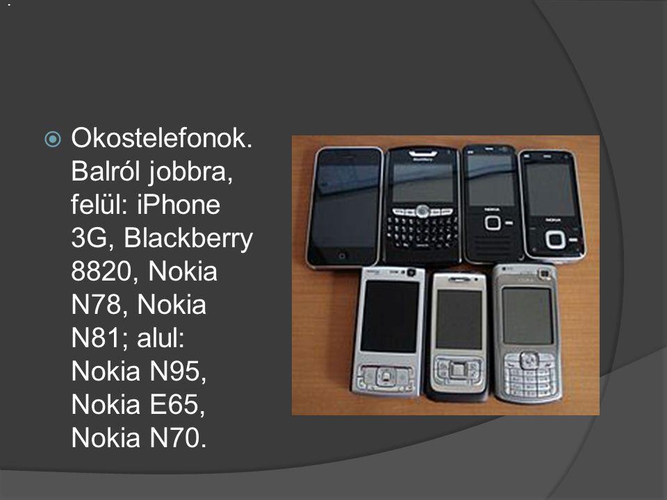  Okostelefonok. Balról jobbra, felül: iPhone 3G, Blackberry 8820, Nokia N78, Nokia N81; alul: Nokia N95, Nokia E65, Nokia N70..