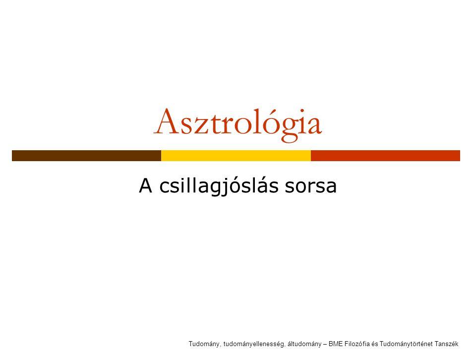 Asztrológia A csillagjóslás sorsa Tudomány, tudományellenesség, áltudomány – BME Filozófia és Tudománytörténet Tanszék