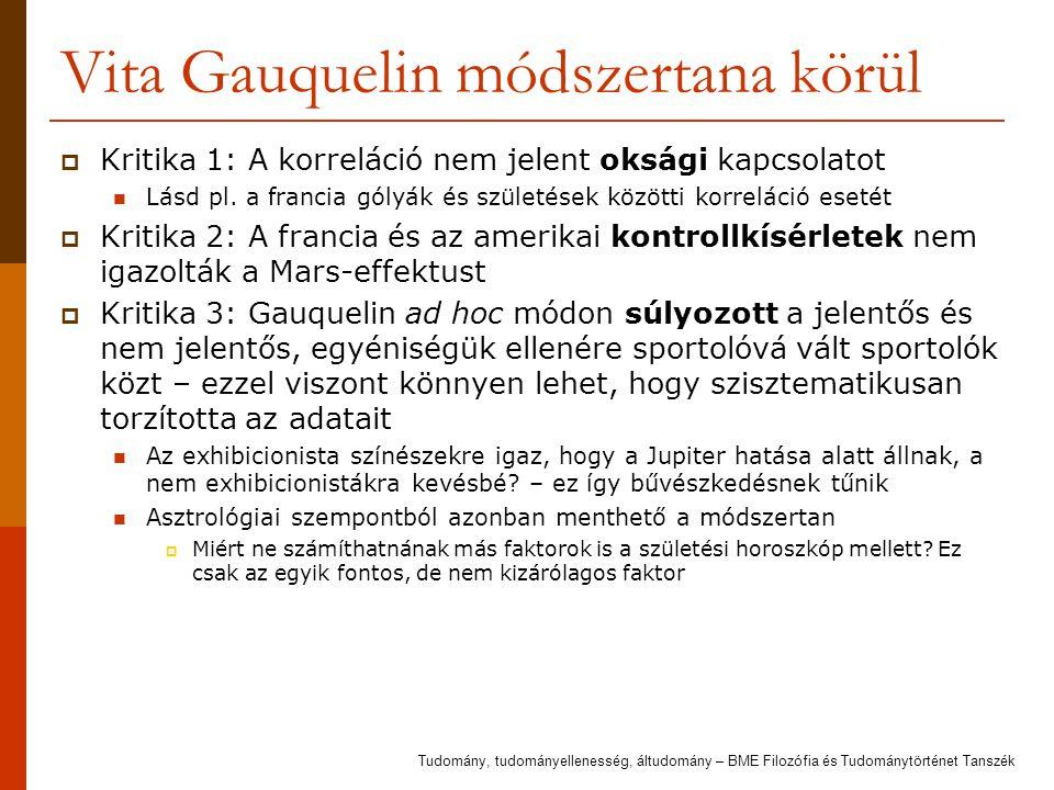 Vita Gauquelin módszertana körül  Kritika 1: A korreláció nem jelent oksági kapcsolatot Lásd pl. a francia gólyák és születések közötti korreláció es
