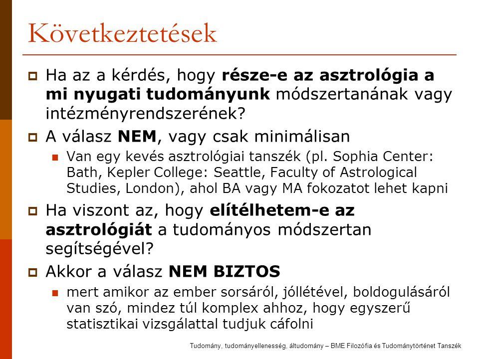 Következtetések  Ha az a kérdés, hogy része-e az asztrológia a mi nyugati tudományunk módszertanának vagy intézményrendszerének?  A válasz NEM, vagy