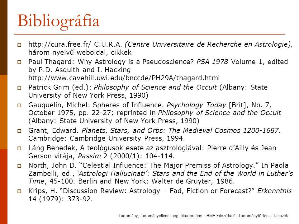 Bibliográfia  http://cura.free.fr/ C.U.R.A. (Centre Universitaire de Recherche en Astrologie), három nyelvű weboldal, cikkek  Paul Thagard: Why Astr