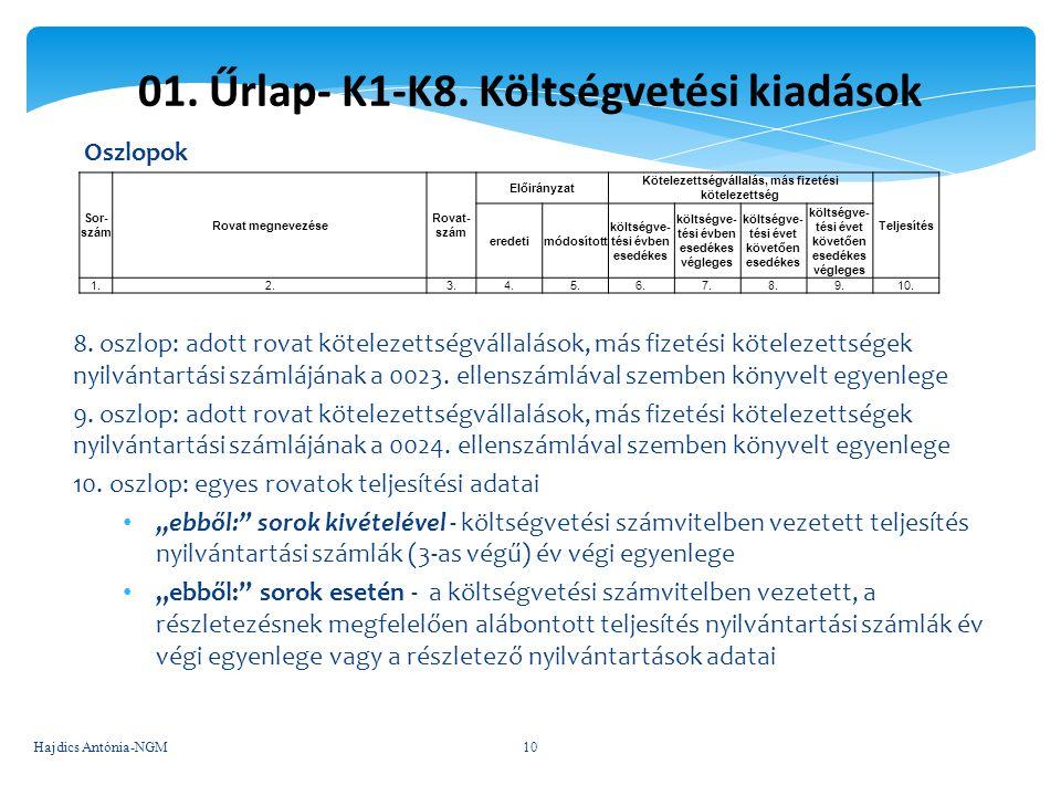 01. Űrlap- K1-K8. Költségvetési kiadások Oszlopok 8. oszlop: adott rovat kötelezettségvállalások, más fizetési kötelezettségek nyilvántartási számlájá