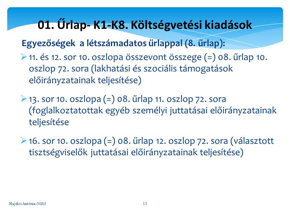 01. Űrlap- K1-K8. Költségvetési kiadások Egyezőségek a létszámadatos űrlappal (8. űrlap):  11. és 12. sor 10. oszlopa összevont összege (=) 08. űrlap