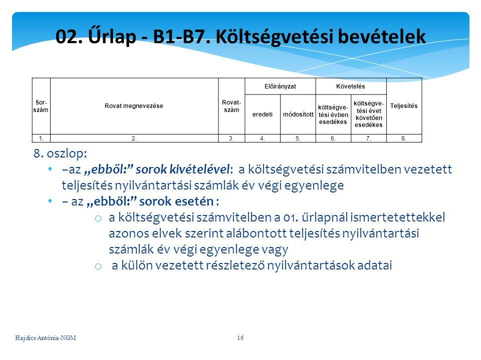 """02. Űrlap - B1-B7. Költségvetési bevételek 8. oszlop: −az """"ebből:"""" sorok kivételével: a költségvetési számvitelben vezetett teljesítés nyilvántartási"""