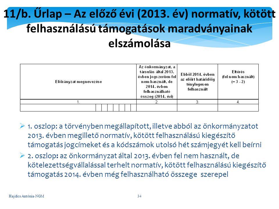 11/b. Űrlap – Az előző évi (2013. év) normatív, kötött felhasználású támogatások maradványainak elszámolása  1. oszlop: a törvényben megállapított, i