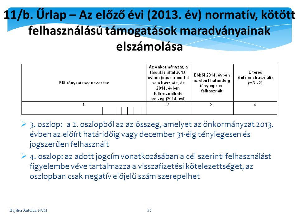11/b. Űrlap – Az előző évi (2013. év) normatív, kötött felhasználású támogatások maradványainak elszámolása  3. oszlop: a 2. oszlopból az az összeg,