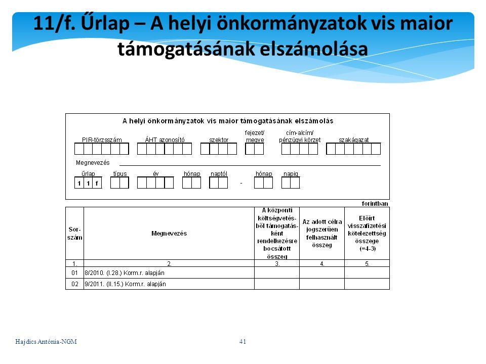 11/f. Űrlap – A helyi önkormányzatok vis maior támogatásának elszámolása 41 Hajdics Antónia-NGM41