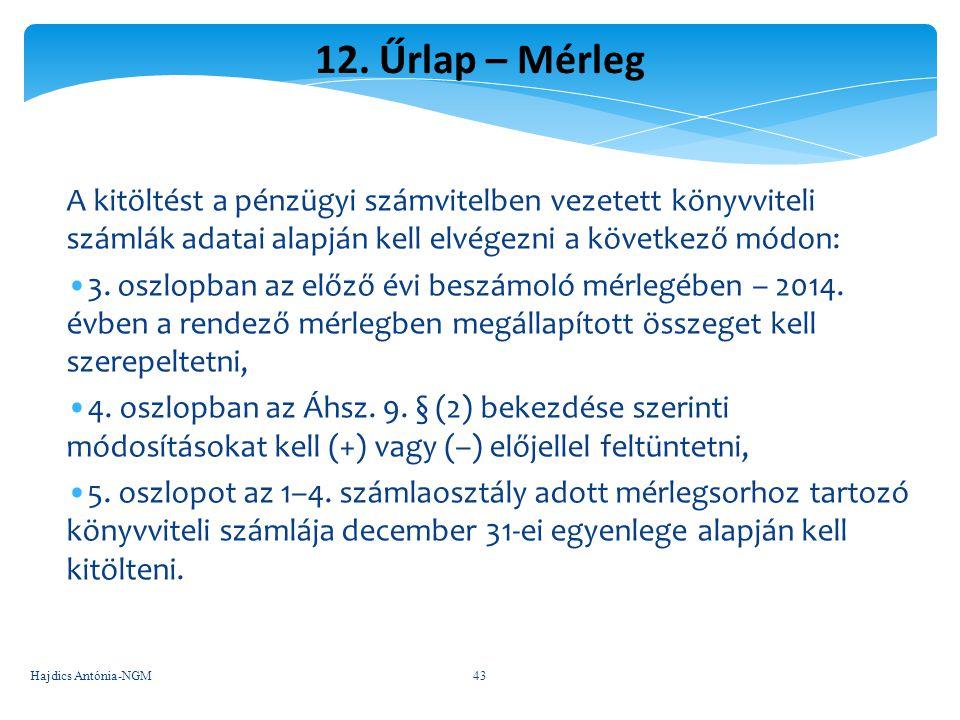 12. Űrlap – Mérleg A kitöltést a pénzügyi számvitelben vezetett könyvviteli számlák adatai alapján kell elvégezni a következő módon: 3. oszlopban az e