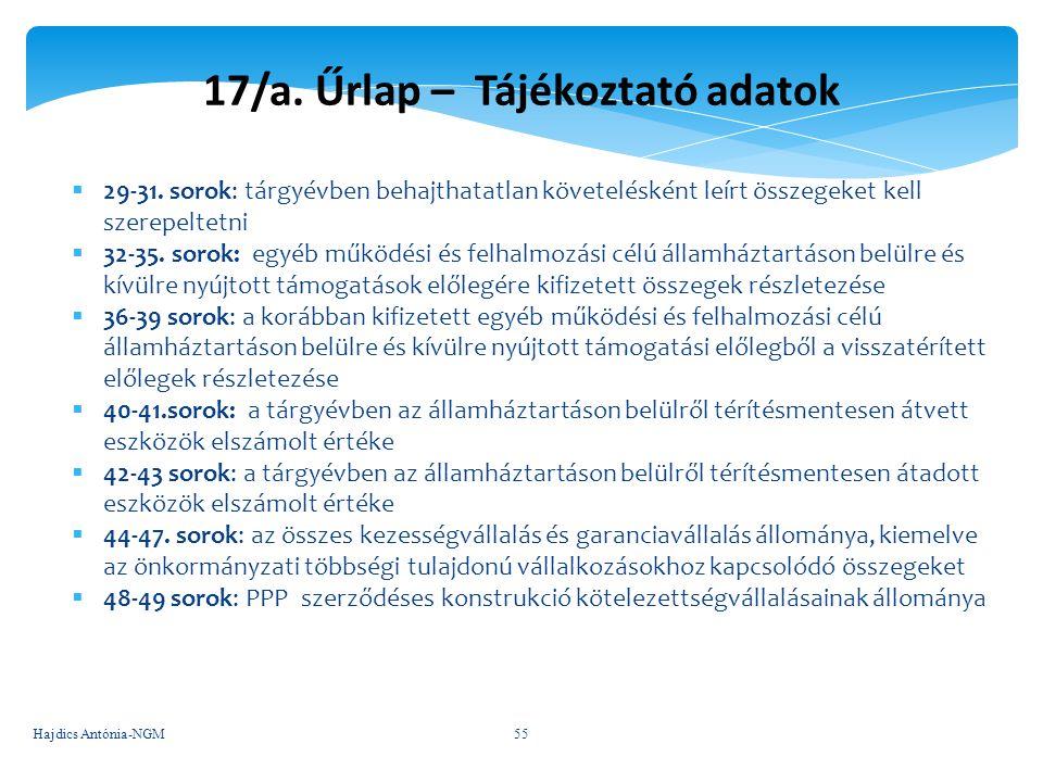 17/a. Űrlap – Tájékoztató adatok  29-31. sorok: tárgyévben behajthatatlan követelésként leírt összegeket kell szerepeltetni  32-35. sorok: egyéb műk