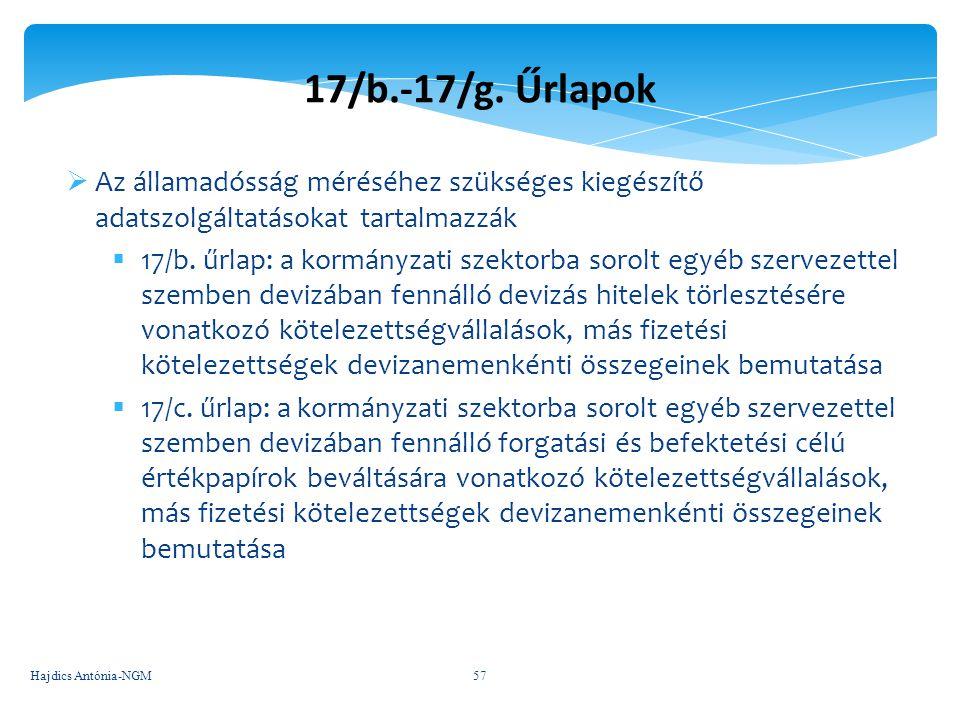 17/b.-17/g. Űrlapok  Az államadósság méréséhez szükséges kiegészítő adatszolgáltatásokat tartalmazzák  17/b. űrlap: a kormányzati szektorba sorolt e