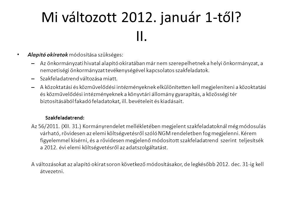 Mi változott 2012. január 1-től? II. Alapító okiratok módosítása szükséges: – Az önkormányzati hivatal alapító okiratában már nem szerepelhetnek a hel